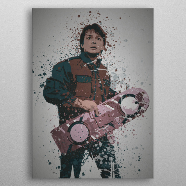 Time Traveller Splatter effect artwork inspired by Marty Mcfly from Back to the Future metal poster