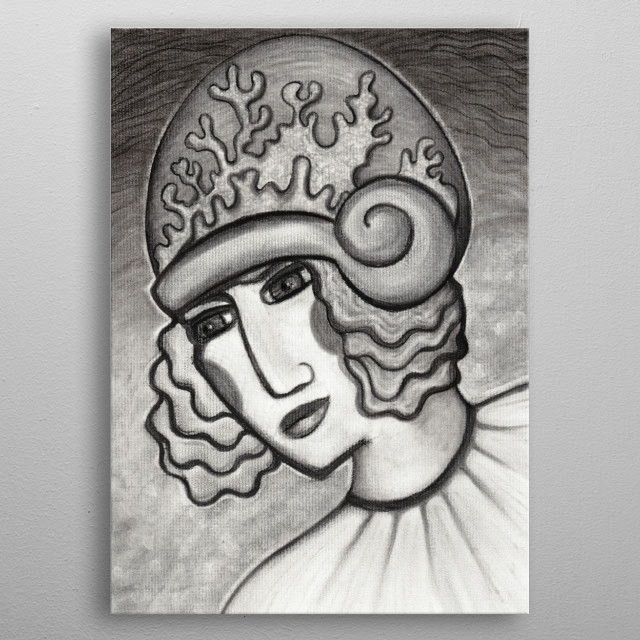 Coral Cloche - in charcoal metal poster