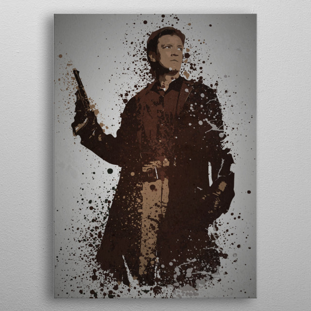 Space Cowboy Splatter effect artwork inspired by Malcolm Reynolds from Firefly metal poster