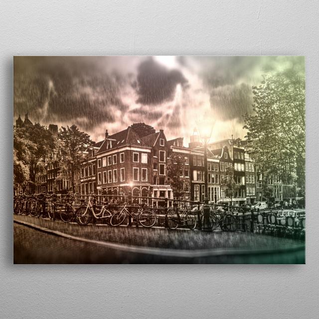 AMSTERDAM Thunderstorm metal poster