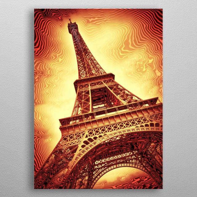 Modern Art Eiffel Tower | red metal poster