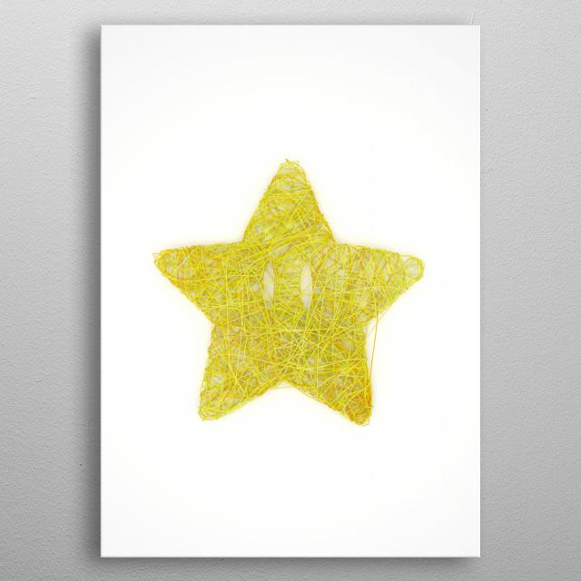 Fiber Mario Star metal poster