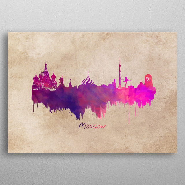 Moscow skyline city metal poster