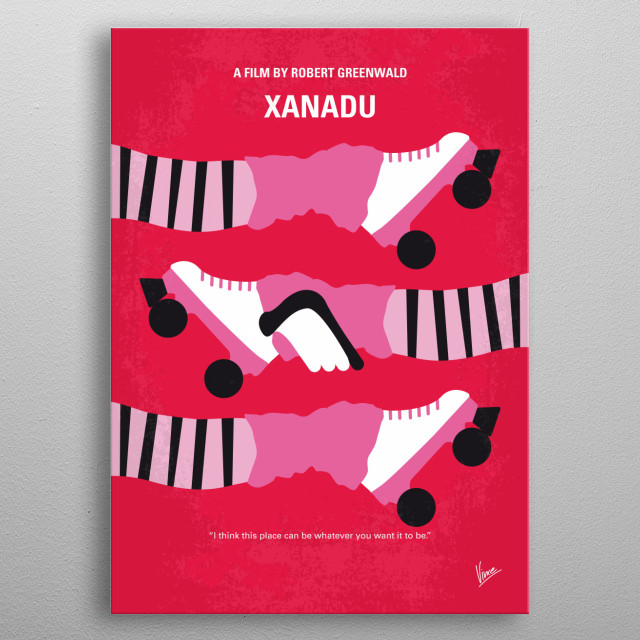 No516 My Xanadu minimal movie poster  The story of a girl who makes dreams come true.  Director: Robert Greenwald Stars: Olivia Newton-John, Gene Kelly, Michael Beck metal poster