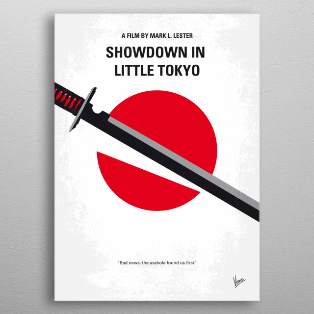 No522 My Showdown in Little Tokyo minimal movie Detective Chris Kenner was orphaned as a child as his father was in the service and was killed and lived in Japan. metal poster