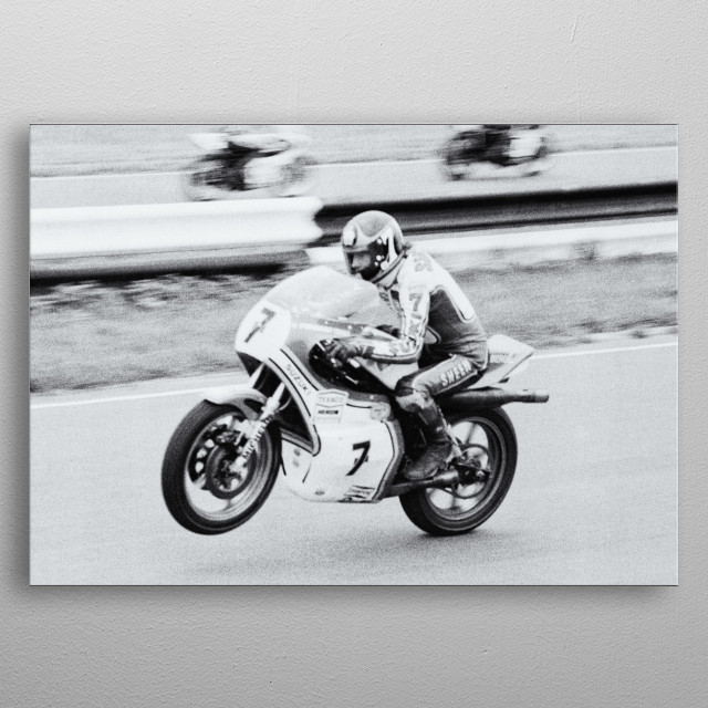 Barry Sheene. Barry starts the race at Mallory Park from 14th place and wins. Typical of the greatest racer of all time. metal poster