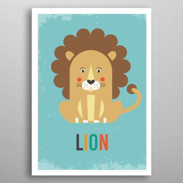 Retro Lion metal poster