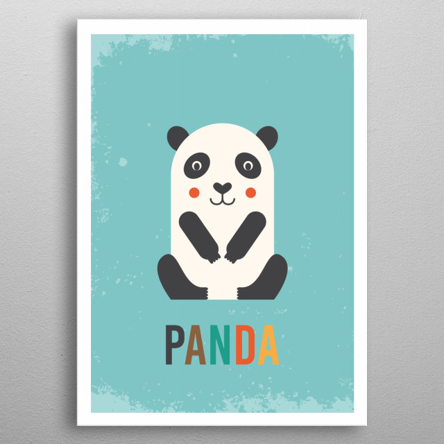 Retro Panda metal poster