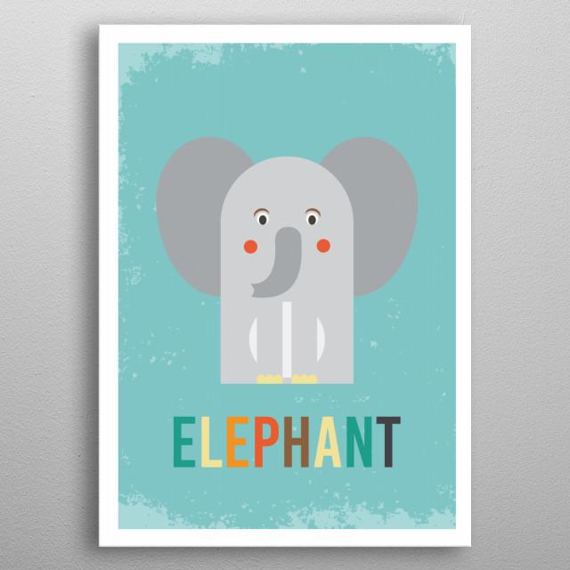 Retro Elephant metal poster