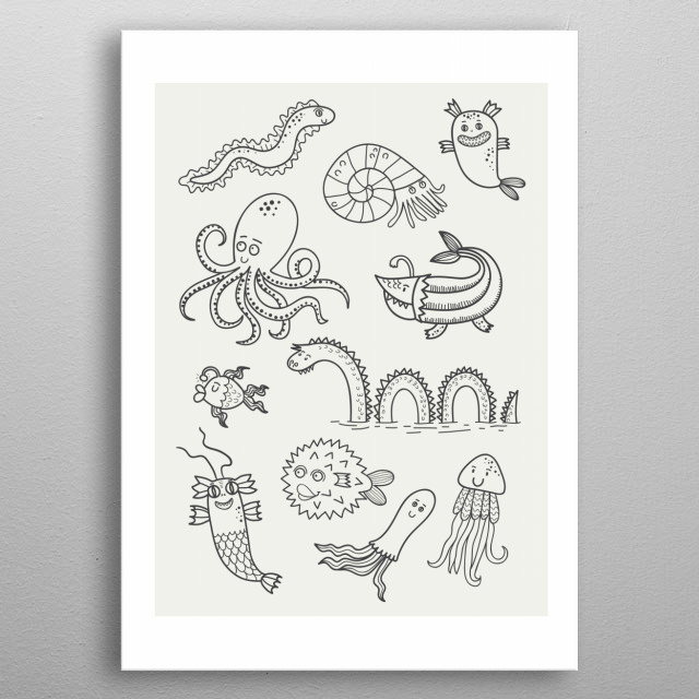 Happy Sea Monsters metal poster
