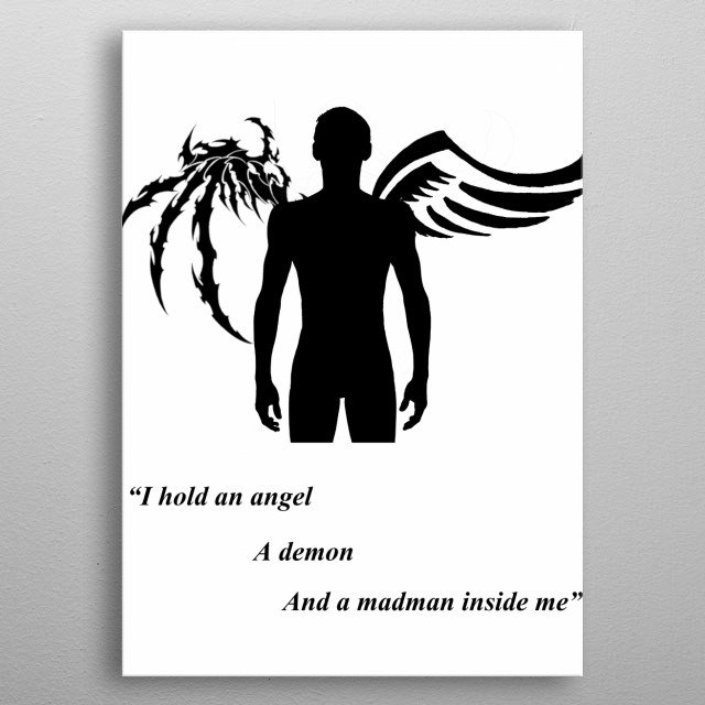 Angels, demons, and madmen metal poster