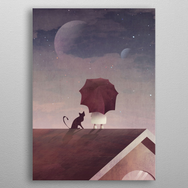 Twin Moon metal poster