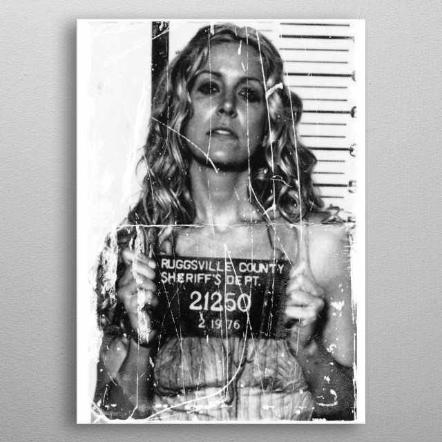 Distressed Mugshot of Baby form the movie The Devil's Rejects. metal poster