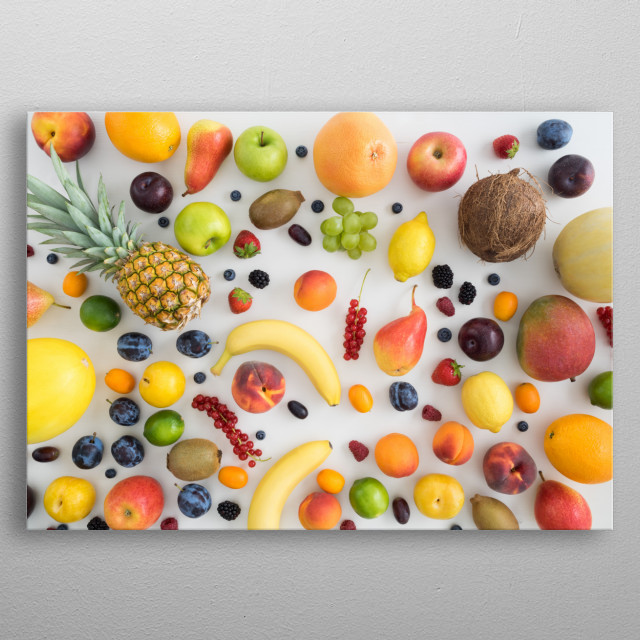 Collection of summer fruits metal poster