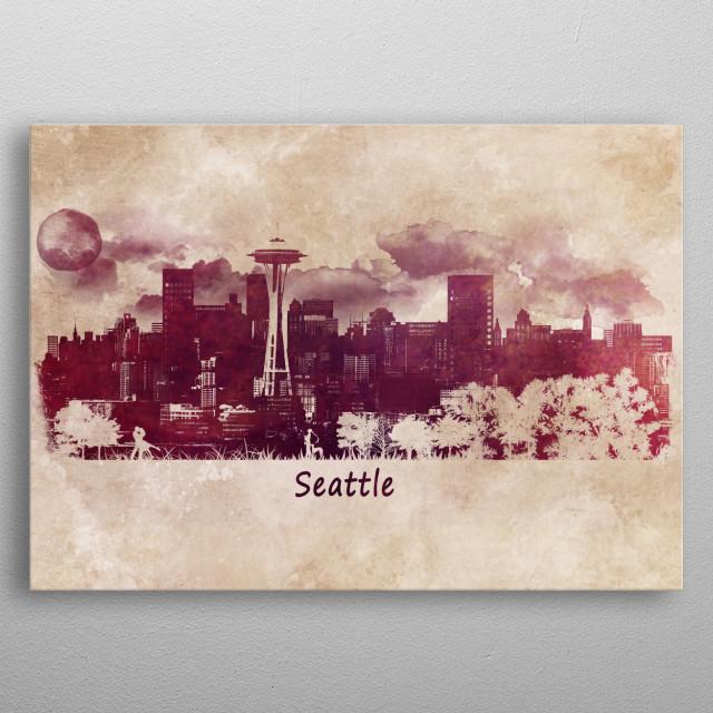 Seattle - skyline city metal poster