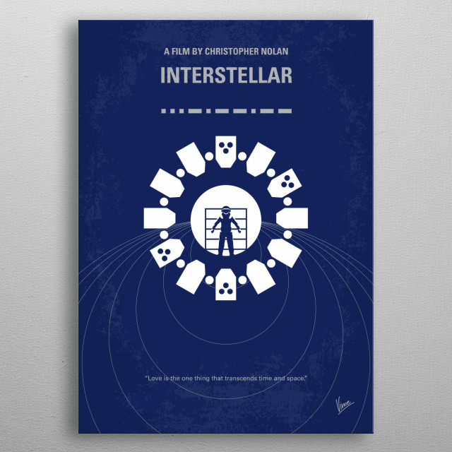 No532 My Interstellar minimal movie poster A team of explorers travel through a wormhole in space in an attempt to ensure humanity's survival. Director: Christopher Nolan Stars: Matthew McConaughey, Anne Hathaway, Jessica Chastain metal poster