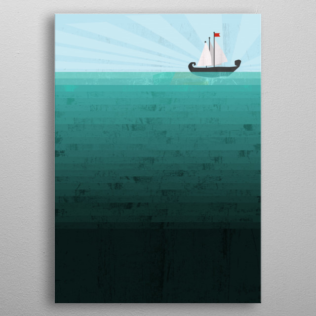 A conceptual illustration of a deep blue ocean with a viking boat :) metal poster