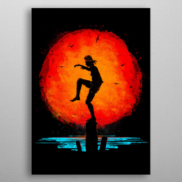 A minimalist sumi-e styled painting inspired by the original Karate Kid film metal poster