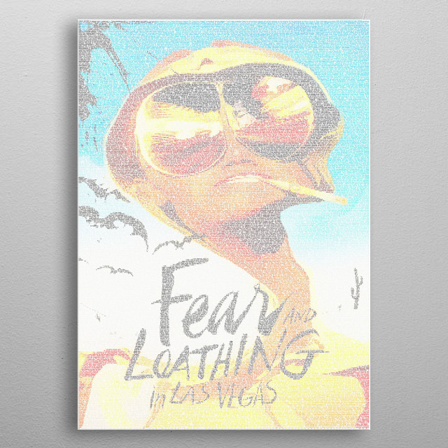 Fear and Loathing Screenplay Print. A typographic recreation of the poster for Fear and Loathing made from the shooting script of 22,721 words in Foxscript font. metal poster