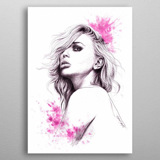 Hot pink | Pen and acrylics hand drawn fashion illustration  metal poster