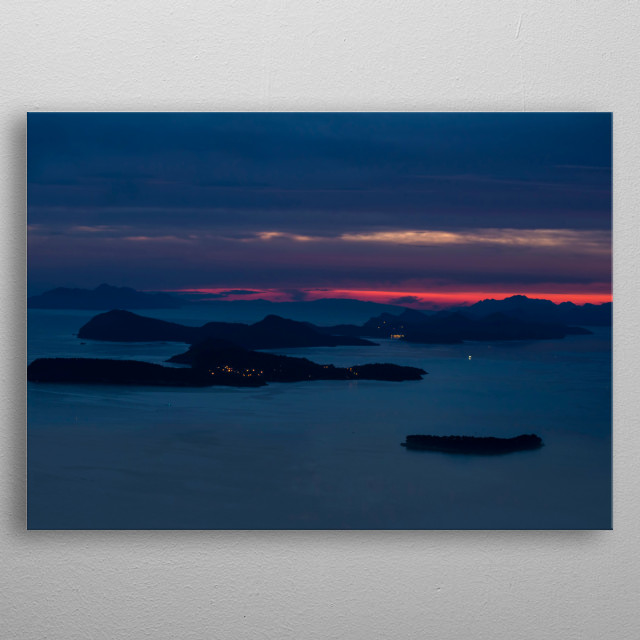 Evening impression with islands. Croatia 2015 metal poster