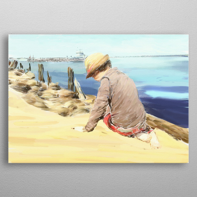 A little boy playing on a beach metal poster
