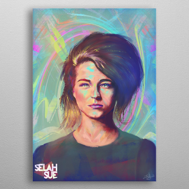 """Here is a portrait i've painted as a tribute to the talented Belgian Singer """"Selah Sue"""".  metal poster"""
