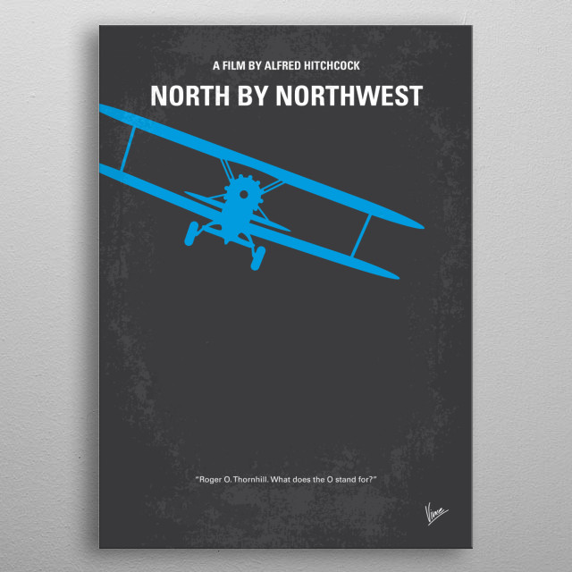 No535 My North by Northwest minimal movie poster  A hapless New York advertising executive is mistaken for a government agent by a group of f... metal poster