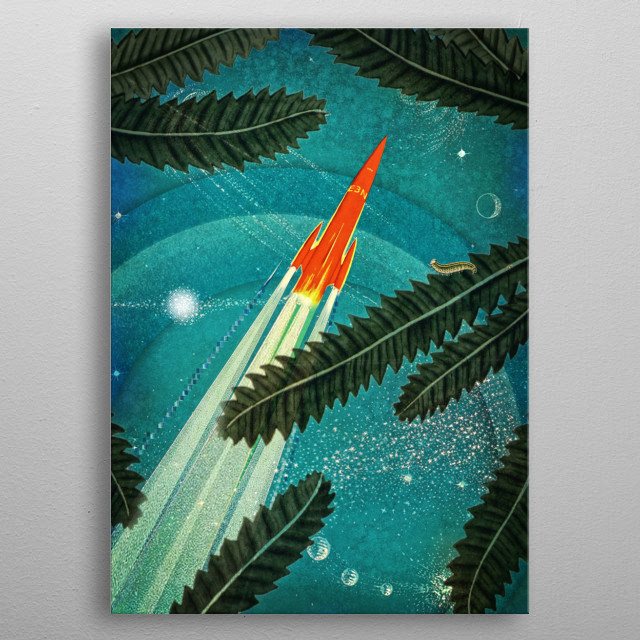 Space Trip Collage metal poster