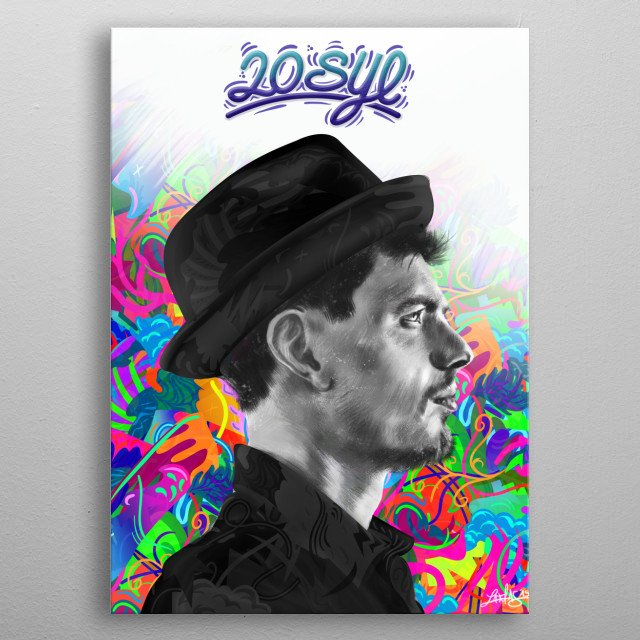 This illustration is a portrait of the French rapper and DJ 20syl ( C2C / Hocus Pocus ) One of the most talented and creative Artist in French Music industry.  metal poster