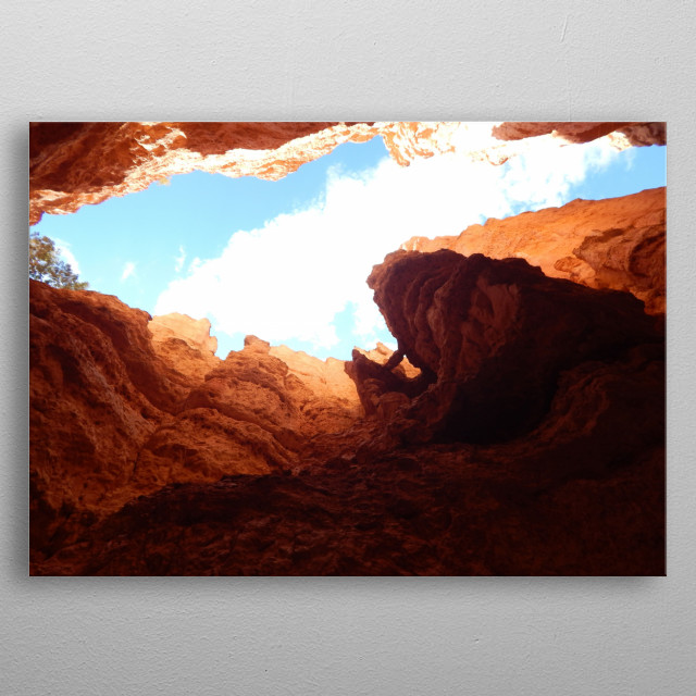 Photo shot inside the mouth of Bryce Canyon National Park, while on an epic journey. metal poster