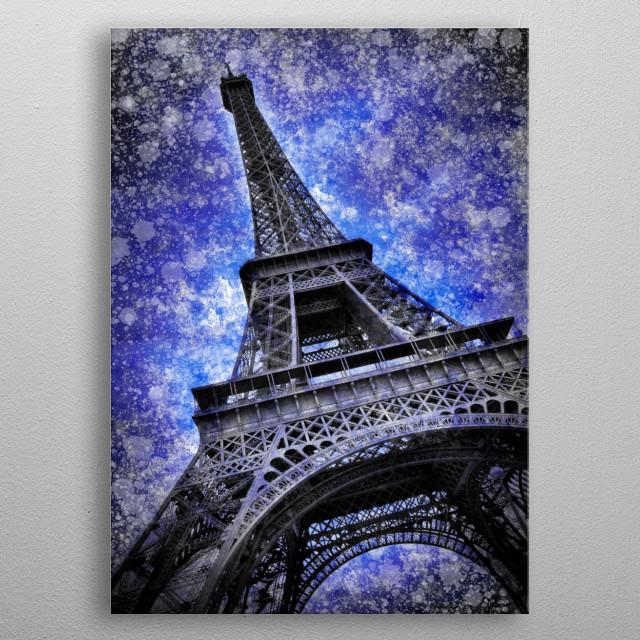 Decorative impression of Eiffel Tower in Paris.  metal poster