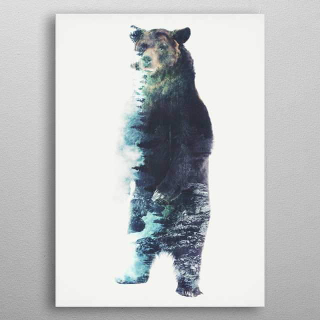 A vintage double exposure technique of a brown bear and the forested mountains metal poster