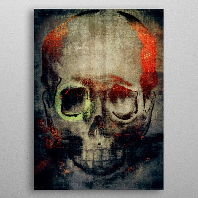 drawing of a skull combined with textures & photographs metal poster