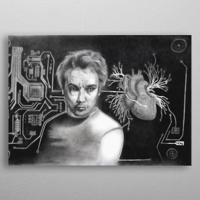 AFAN Alessandro Fantini - Soundiastole (Jean-Michel Jarre portrait), pencil on cardboard 33x48 cm. (2015) metal poster