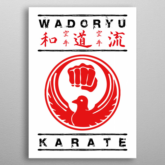 The Wadoryu symbol with text and kanji metal poster