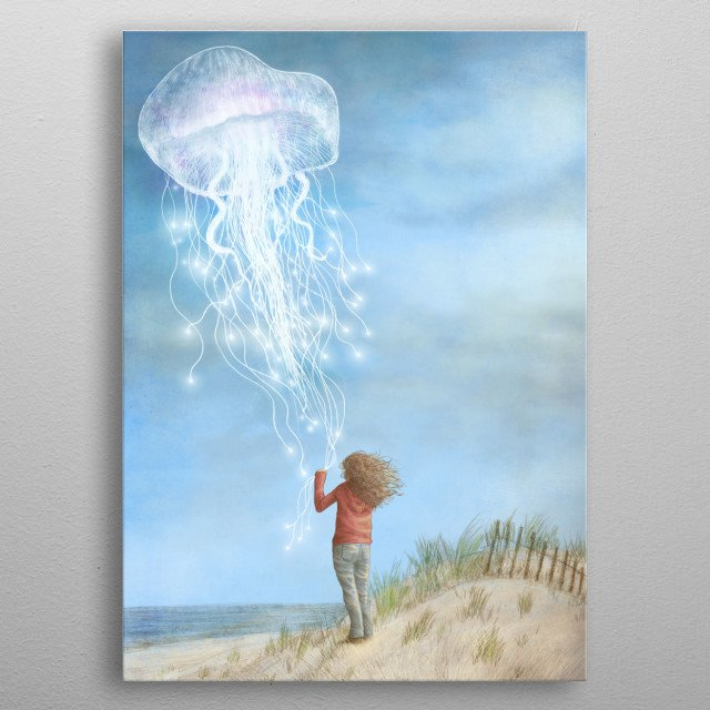 """By The Sea My brother Eric and I were very honoured to do the cover art for Ali Benjamin's wonderful and moving coming-of-age story """"The Thing About Jellyfish"""" which was recently published by Little Brown Books for Young Readers, and is available for purchase on Amazon and at bookstores across North America.  This is an earlier version that wasn't chosen for the final art. I've changed the title to avoid any direct associations with the final cover art.  metal poster"""