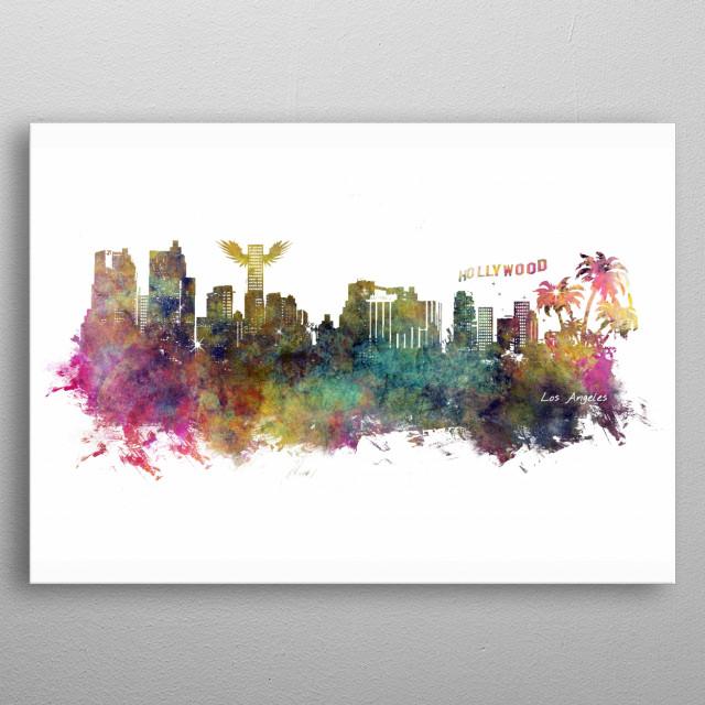 Los Angeles skyline metal poster