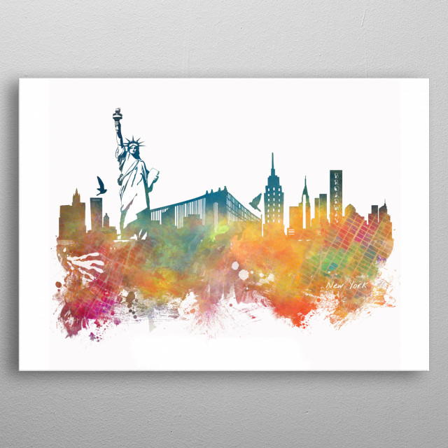 New York City skyline metal poster