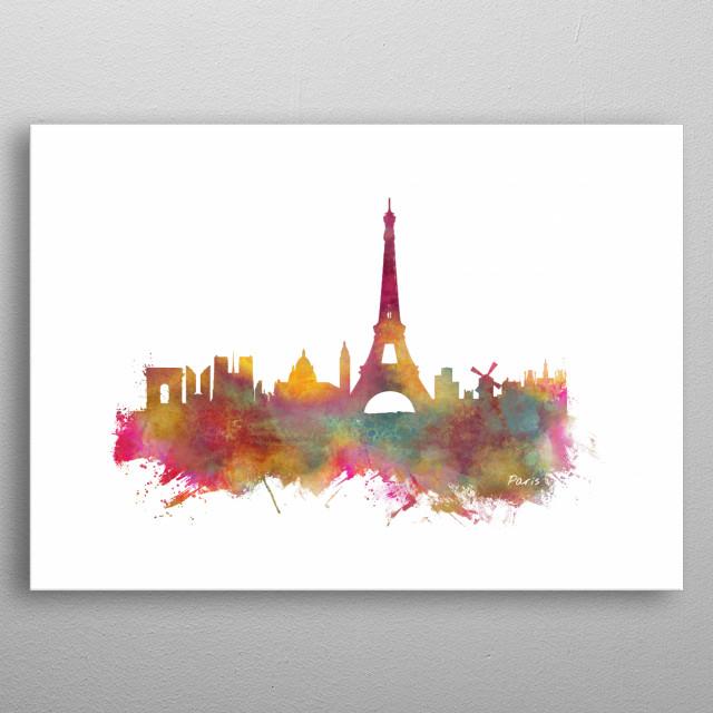 Paris skyline  metal poster