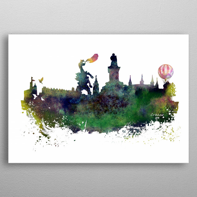 Cracow skyline  metal poster