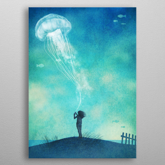 "The Thing About Jellyfish  My brother Eric and I were very honoured to do the cover art for Ali Benjamin's wonderful and moving coming-of-age story ""The Thing About Jellyfish"" which was published by Little Brown Books for Young Readers, and is available for purchase on Amazon and at bookstores across North America. metal poster"