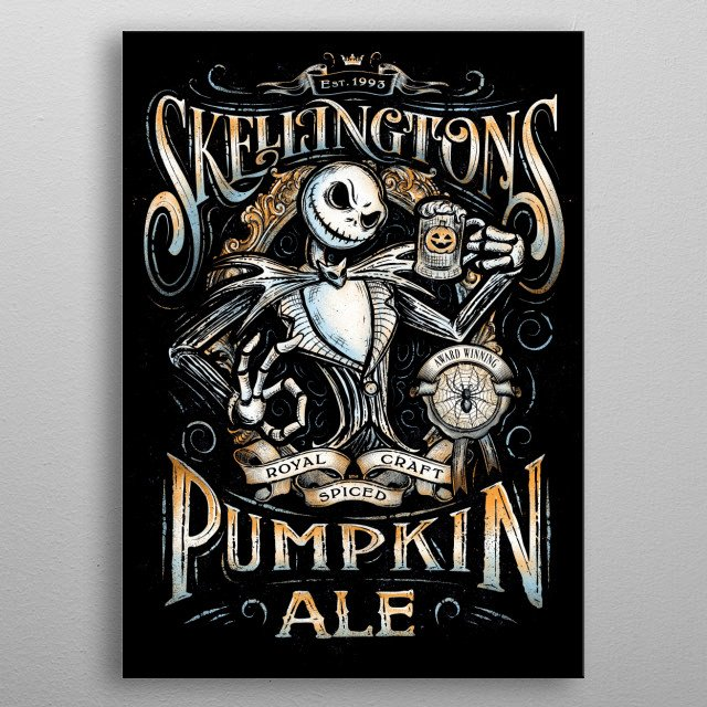 Artwork collaboration between Artists Barrett Biggers and JP Perez of a vintage pumpkin spiced ale design metal poster