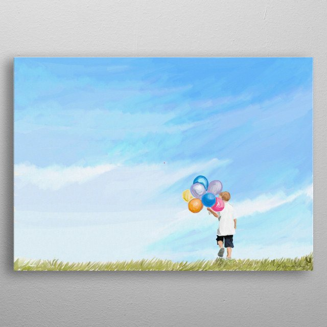 A boy with a bunch of balloons walking in a meadow. A happy painting of a carefree childhood. metal poster