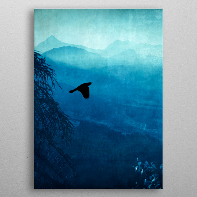View of Italian alps on a hazy morning with a bird metal poster