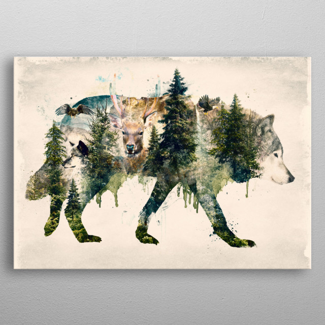 Another in my nature series of natural flora and fauna mashups featuring the wolf metal poster