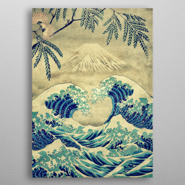 The Great Blue Embrace at Yama metal poster