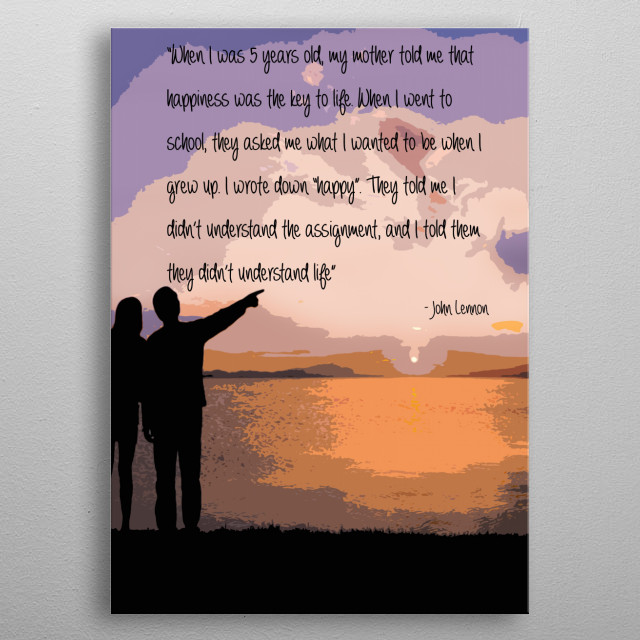 Amazing Quote By John Lennon Text Art Poster Print Metal