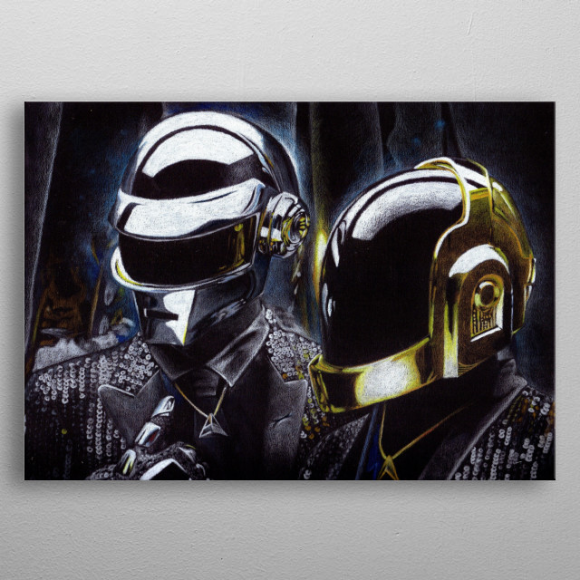 ilustration of daft punk made with colored pencils on black paper taking the light from the black background metal poster