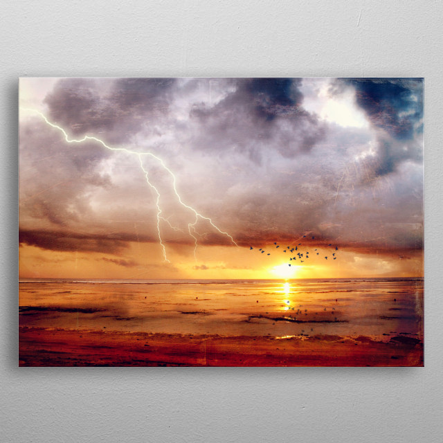View of tidal flats at sunrise  after a  tropical thunderstorm on the isalnd of Bali - texturized photograph metal poster